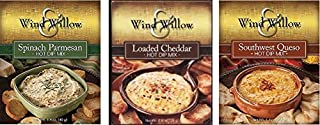 Wind & Willow Hot Dip Mix Variety Pack - Loaded Cheddar, Spinach Parmesan, and Southwest Queso