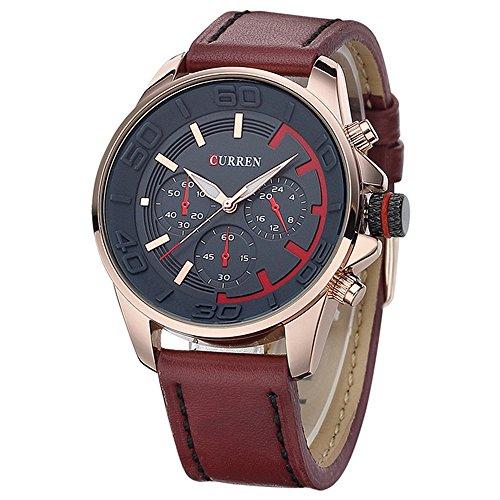 SPORTWATCHES Schöne Uhren, authentische Männer Gürtel gefälschte DREI Casual Uhren koreanische Mode (Color : 3)