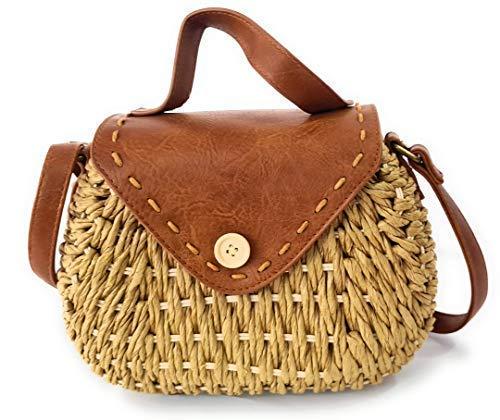 Bolso de hombro para mujer, bolso de hombro hecho de paja, bolso de mimbre ideal para verano. Bolso para mujer marrón claro rattan