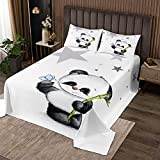 Loussiesd Panda Drucken Tagesdecke 240x260cm Wohndecke für Baby Kinder Mädchen Bettüberwurf Karikatur Tiere Dekorativ Atmungsaktiv Mikrofaser Steppdecke Weiß schwarz mit 2 Kissenbezug
