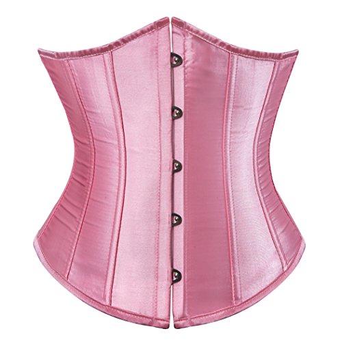 Rosfajiama Damen Korsage Unterbrustkorsett Satin Bauchweg Corsage Waist Cincher Top Tailenmieder Dessous rosa (XL)