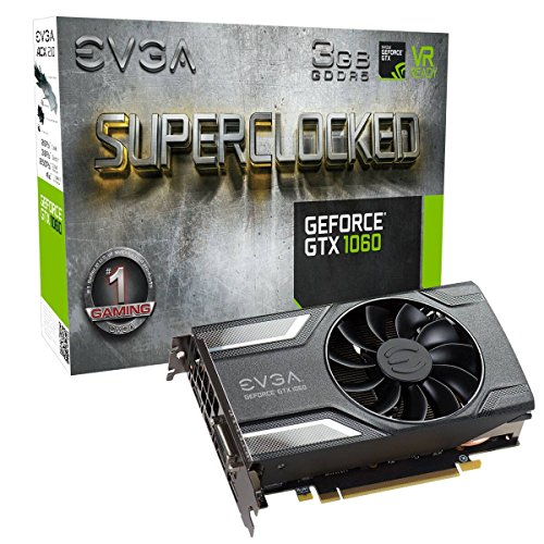 EVGA GeForce GTX 1060 3GB SC GAMING, ACX 2.0 (Single Fan), 3GB GDDR5, DX12 OSD Support (PXOC) Grafikkarte 03G-P4-6162-KR