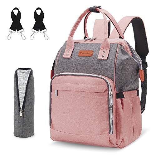 Diaper Bag Backpack for Baby-Girl - Waterproof Travel Baby Bag for Mom and Baby Girl with USB Charging Port Stroller Straps Insulated Pockets, Nappy Bag Organizer for Mom, PREEMINA