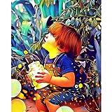 Lienzo Impresiones Pintura Halloween Lienzo Pintura póster decoración del hogar Arte de la Pared para Sala de Estar-Niño y lámpara(50x75cm) Sin Marco
