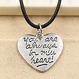 ZPPYMXGZ Co.,ltd Collar Forever In My Heart Collar con Colgante Charm de Cuero Negro Collar Cho Cordón Joyería Hecha a Mano Precio Moda