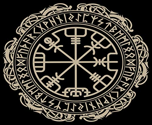 5D Diamond Painting,Diamond Painting Kits for Adults Black Celtic Viking Magical Runic Compass Vegvisir Circle Norse Runes Dragons Tattoo Suitable as Gifts Gem Art, Home Games,Home Wall,16'x20'