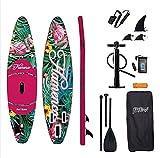 Tabla de surf de remo, flamenco, hinchable, SUP, 320 x 83 x 15 cm, hasta 150 kg, para niños y adultos, incluye tabla, tabla antideslizante, mochila de viaje, remo ADJ, bomba, correa, bolsa impermeable
