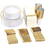 WDF Partyware 50 Guest Gold Plastic Plates with Disposable Cutlery& Gold Plastic Cups-Party Plates and Napkins sets for Wedding&Parties