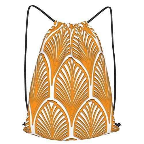 GYYbling Bolsas con cordón Naranja Blanco Art Deco Vintage Patrón de Abanico Mochila con cordón, Boca de viga Mochila de Viaje Escolar Mochila Ligera Bolsos de Hombro para Hombres y Mujeres