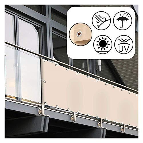 GDMING Pantalla para Balcón Protección Privacidad Valla Decorativa Al Aire Libre Sombrilla Protector De Clima Parabrisas para Balcón Terraza Jardín PVC, 50 Tamaños (Color : Beige, Size : 1x4m)