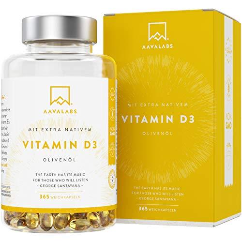 Vitamin D3 DEPOT [ 5000 IU ] Hochdosiert - Kaltgepresstes natives Olivenöl extra für optimale Absorption - Ohne Gentechnik, glutenfrei und laktosefrei - Trägt zur Funktion von Knochen, Muskeln und Immunsystem bei - 365 Kapseln