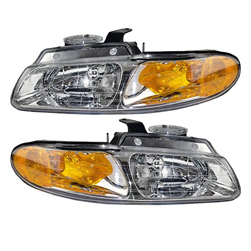Headlights Headlamps Driver and Passenger Replacements for Dodge Caravan Chrysler Town & Country Van without Quad Lamps 4857150AB 4857040AB