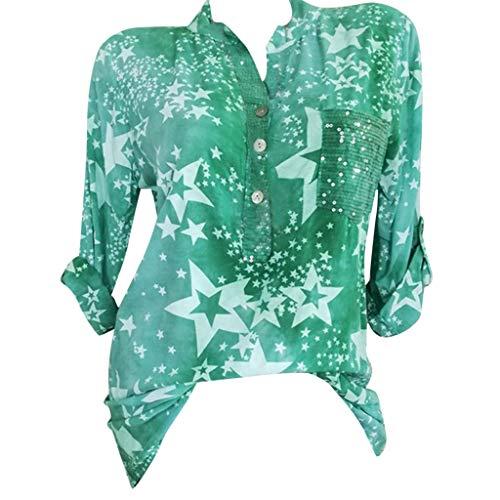 Bringbring Damen Bluse Gedruckte Stehkragen Lange Ärmel Knopf Top Tunika Blusenshirt Hemd Elegant Oberteile T-Shirt