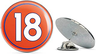 NYC Jewelers Round #18 Peyton Manning Denver Colors (Number 18 Broncos) Metal 0.75