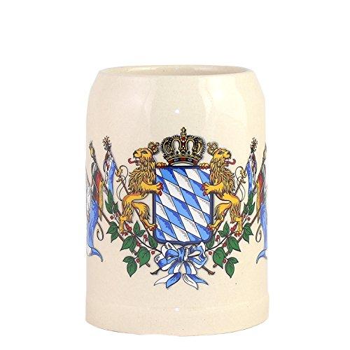 Bavariashop Steinkrug Bayern, Bayrisches Wappen Rautenmuster & Löwen, Bierkrug, Weiß, 0,5 Liter