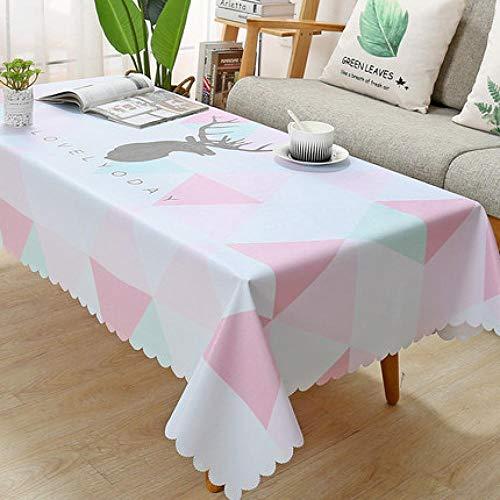 Traann Plastic tafelkleed schoonmaken, vierkant wipe clean, vinyl/kunststof tafelkleed PVC salontafel tafelkleed driehoek eland 110*160