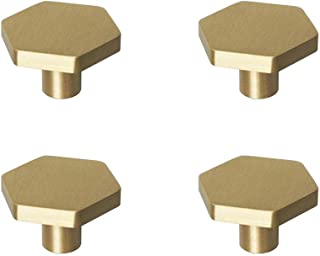"""RZDEAL 4Pcs 1.18""""(30mm) Solid Brass Kitchen Cabinet Knobs Brushed Gold Hexagon Handles and Pulls Dresser Drawer Knobs"""