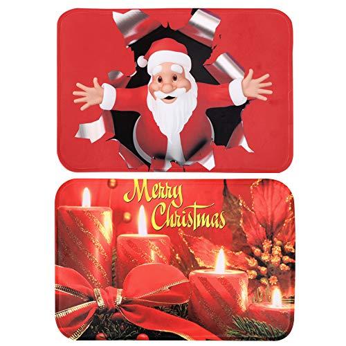 BHGT 2pcs Felpudo Entrada Casa 60 x 40cm Alfombra Navidad Antideslizante Decoración Hogar Sala de Estar Cocina Dormitorio Adorno Navideño