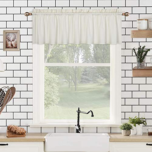 CAROMIO Valance Curtains for Bathroom, Embossed Textured Soft Microfiber Tailored Kitchen Curtain Valances for Windows, Cream, 60x15 Inches