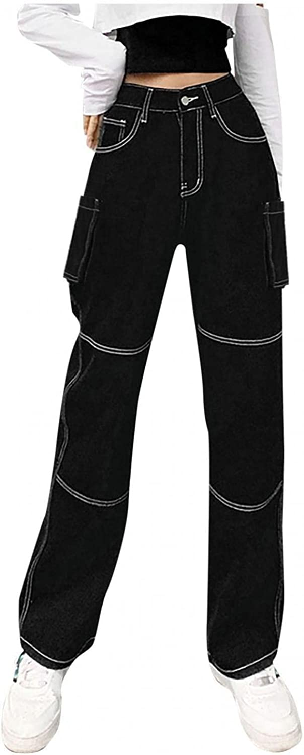 Lingbing Y2K Fashion Jeans, High Waisted Jeans for Women Wide Leg Straight Jeans Sexy Hollow Out Denim Pants Streetwear