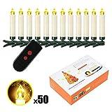 SunJas 10/20/30/40 er Weinachten LED Kerzen Lichterkette Kerzen Weihnachtskerzen Weihnachtsbaum Kerzen mit Fernbedienung Kabellos (50 Stk)