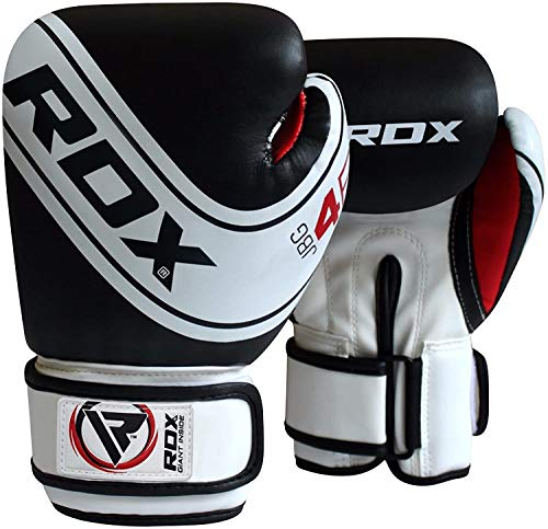 RDX Boxhandschuhe Kinder Muay Thai Boxsack Training Sparring Kickboxen Sandsack Junior Maya Hide Leder Boxing Gloves, Schwarz, 4 oz