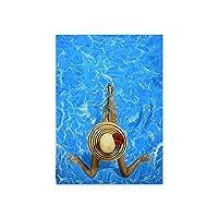 キャンバスプリントウォールアート画像モダンビキニ女性ポスターとプリントブルースイミングプールファッションビューティーウォールアートキャンバス絵画リビングルームの家の装飾-D_60X84Cm_No_Frame