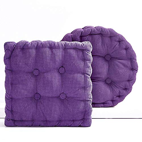 Aocean Soft Corduroy EPE Cotton Filled Chair Cushion, Thick 8 cm Tatami Solid Color Pad for Home Office Dinning Chair Indoor Outdoor Seat Chair Pad Purple Round - Diameter40 cm