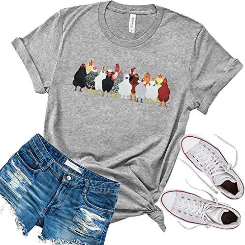 HEYO Chicken T Shirt Women Farm Country Shirt (S, Grey)