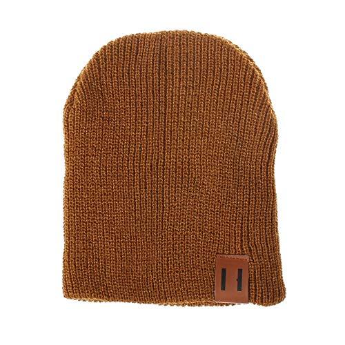 YWLINK Street Classics Reisen Eltern Kind Leather Patch MüTze Beanie Herren Damen Junge MäDchen Knited Kopfbedeckungen Hut,Unisex