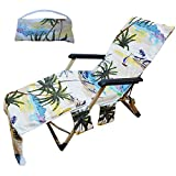 Beach Towel Lounge Chair Cover Palm Leaves Seascape Beach Lounge Chairs Cover with with 3 Fitted Pockets, Foldable, for Pool, Sun Lounger, Vacation, No Chair