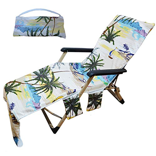 Generleo Beach Towel Lounge Chair Cover Palm Leaves Seascape Beach Chair Cover with with 3 Fitted Pockets, Foldable, for Pool, Sun Lounger, Hotel, Vacation, Holidays Sunbathing