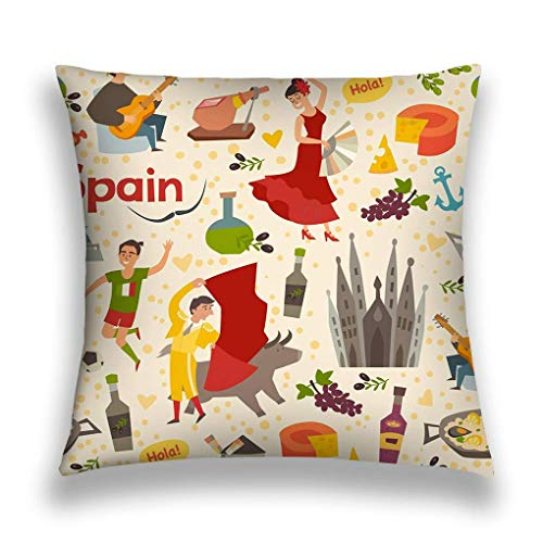 SSHELEY kussensloop Spaans landmerk patroon achtergrond Spaanse hand tekenen achtergrond Spaanse symbool cartoon abstract behang weinig