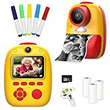 fisca Instant Digital Print Camera for Kids, 26MP Photo 1080p HD Video Selfie Camera with 2' LCD Screen and 32GB Micro SD Card for Boys and Girls Age 4, 5, 6, 7, 8, and Up Year Old