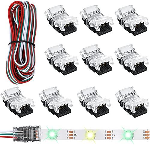 11 Piezas Conectores de Tira de LED Ajustable de 3 Pines 10 mm Conectores de Tira de Luces LED Terminal de Conector de Tira de LED para Tira de LED sin Soldadura WS2811 WS2812B SK6812