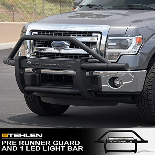 "Armordillo 733469494676 Modular Pre-Runner Bumper Grille Guard with 32"" 60x CREE LED Light Bar - Matte Black For 2006-2014 Ford F150"