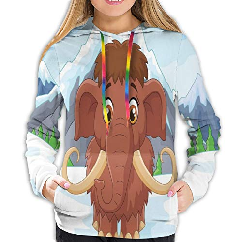 Women's Hoodies Tops,Baby Mammoth In Ice Snowy Mountain Winter Cheerful Animal Prehistoric Design,Hoodie Sweatshirt Apparel for Women,Lady, Teens and Girls,Size:XXL