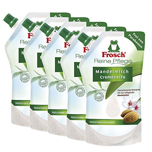5x Frosch Reine Pflege Mandelmilch Cremeseife 500 ml - Nachfüllbeutel