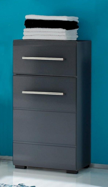 Kommode CHROME Badezimmer-Unterschrank 1 Türe 1 Schubl. grau -metallic
