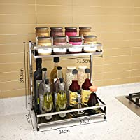スパイス304段のステンレス鋼キッチン棚2層床置きスパイス収納ラックラック調味料ラック (Size : 34cm)