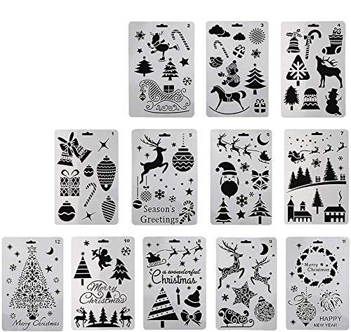 BETOY 12 Stück Kunststoff-Malschablonen mit Weihnachtsmotiven, Schablone Set Stanzschablone Stanzformen für DIY Bullet Journal Album Scrapbooking Papier Karte Deko