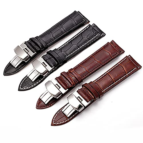 Correa de reloj de correa de cuero Negro correa de 18mm 20mm 22mm plegable de cierre reloj de pulsera pulsera de accesorios, marrón plata Brown, 20mm