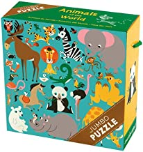 """Mudpuppy Animals of the World Jumbo Puzzle, 25 Jumbo Pieces, 22""""x22"""" – For Kids Age 2+ - Colorful Illustrations of Animals – Thick, Sturdy Pieces - Convenient Rope Handle on Box"""