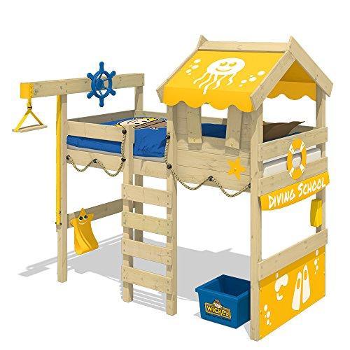 WICKEY Cama alta CrAzY Jelly Cama infantil con techo Cama para jugar 90x200 para niños con somier y sistema de grúa, amarillo