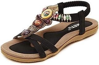 サンダル レディース Hosam 花柄 ビジュー ペタンコ ビーチサンダル アンクルストラップ 歩きやすい 編込み 夏サンダル 海 プール 海外 旅行 フェミニン 大人可愛い オープントゥウェッジサボサンダル 痛くない 靴 ローヒール スエード スウェード