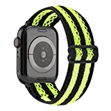 YOSWAN Hollow Out Mesh Elastic Stretch Nylon Band Compatible with Apple Watch 42mm 44mm, Adjustable Stretchy Sport Elastics Women Men Strap for iWatch Series 6/5/4/3/2/1 SE (Neon Green, 42mm/44mm)