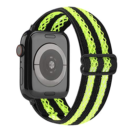 YOSWAN Hollow Out Mesh Elastic Stretch Nylon Comfort Compatible with Apple Watch 38mm 40mm, Adjustable Stretchy Sport Elastics Women Men Strap for iWatch Series 6/5/4/3/2/1 SE (Neon Green, 38mm/40mm)