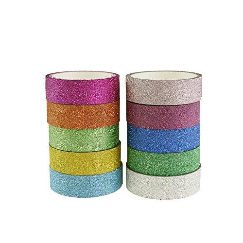Log-Cabin Deko-Glitter Washi Tape, Klebeband Papier Masking Klebeband, 10Rollen 1,5cm x 3m, für Scrapbooking, DIY Handwerk und Geschenkverpackung 01