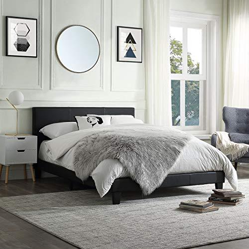 Generric 2020 Bettgestell aus Holz, PU-Leder, Bettplattform mit Kopfteil, gepolstert (Doppelbett)