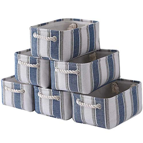 Sacyic Storage Baskets Small Basket[6-Pack]Baskets for Organizing Decorative Baskets for Toys Fabric Basket Toy Basket with Rope Handles Baskets for Storage